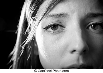 teenager girl in stress and pain suffering depression sad ...