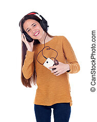 Teenager girl listening music with the mobile
