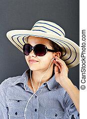 Teenager Girl Listing Music