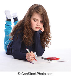 Teenager girl maths homework with calculator