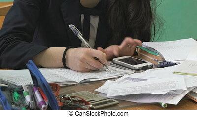 Teenager girl on mathematics lesson - Lesson of mathematics...