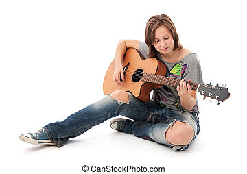 Teenager Girl Playing An Acoustic Guitar Isolated On White