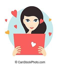 Teenager girl reading a love letter.