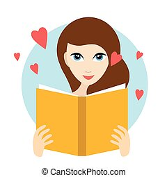 Teenager girl reading a love romance book.