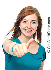 teenager girl shows a thumbs up