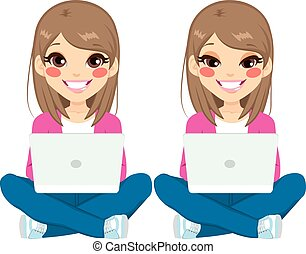 Teenager Girl Sitting With Laptop - Young beautiful teenager...