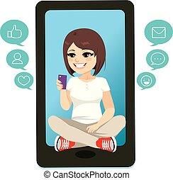 Teenager Girl Smartphone