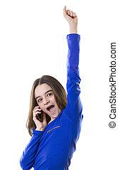 Teenager girl talk on smart phone