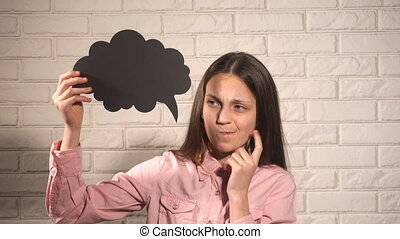 Teenager girl thinking about something with black mind cloud...