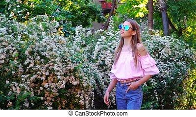 Teenager girl walking
