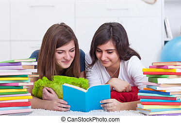 Teenager girls study together