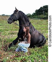 teenager, hest, siddende