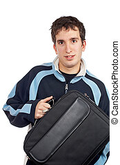 Teenager holding a laptop bag