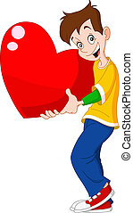 Teenager holding heart valentine