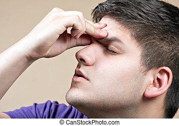 teenager, hos, en, hovedpine
