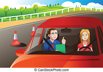 A vector illustration of teenager in a road driving test with an adult inspector