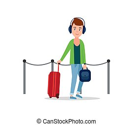 Teenager in Airport Baggage Vector Illustration