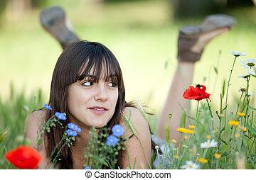 teenager in flowers