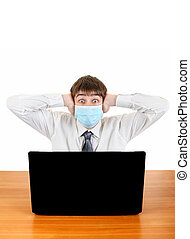 Teenager in Flu Mask with Laptop