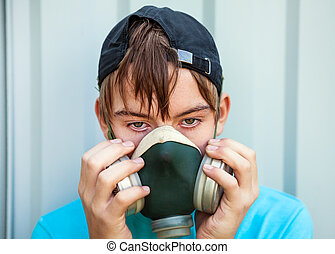 Teenager in Gas Mask