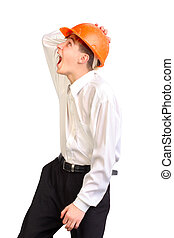 teenager in hard hat