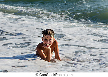 teenager in sea