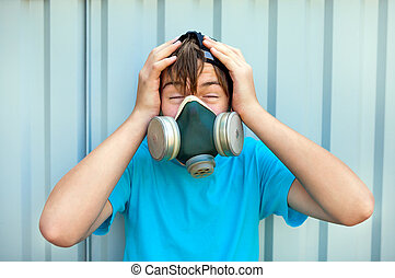 Teenager in the Gas Mask