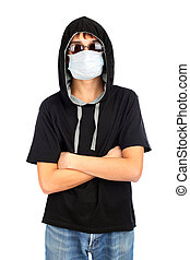 teenager in the mask isolated on white