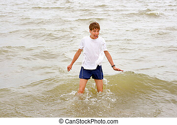 teenager in the water