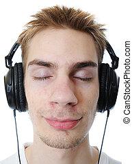 Teenager listening to music