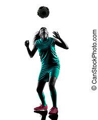 teenager, m�dchen, fußballspieler, freigestellt, silhouette