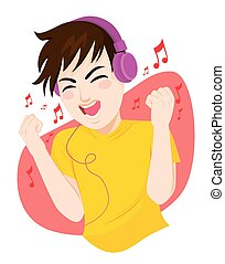 Teenager Man Listening Music