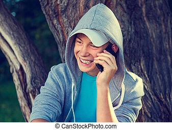 teenager, mit, a, telefon