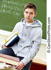 teenager, mit, buecher