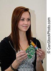 Teenager mit Soundkarte - Teenager mit einer PC-Soundkarte