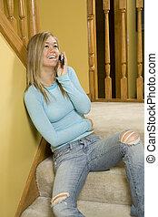 Model Release 303 Teenage girl talking on cell phone