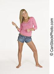 Teenager - Model Release 309 Teenage girl listening to iPod....