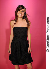 Teenager - Pretty brown haired teenage girl in a black...