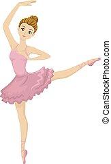 teenager pige, baldamen, ballet, positur