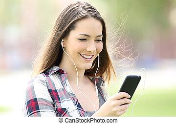 teenager pige, lytte, musik, hos, øre, buds