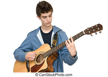 Teenager playing acoustic guitar on white background