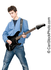 Teenager playing electric guitr on white background