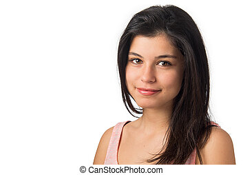 Teenager Portrait - Young teenager brunette girl smiling and...