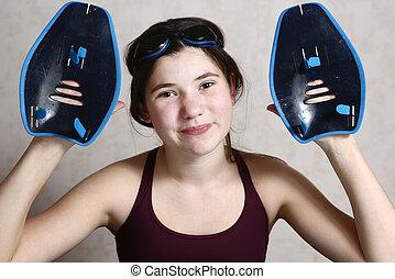 teenager professional swimmer girl