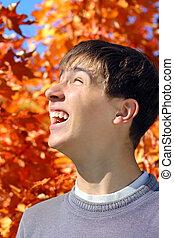 teenager rejoices autumns