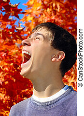 teenager, rejoices, herbste