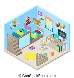 Teenager Room Interior Design with Furniture and Computer. Isometric vector flat 3d illustration