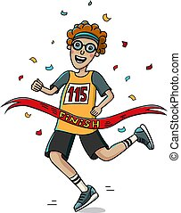 Teenager runner cross the finish line. Cartoon style. Marathon.