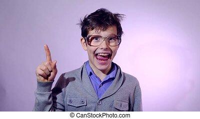teenager shaggy boy glasses nerd portrait he raised his...