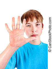 Teenager show the Palm